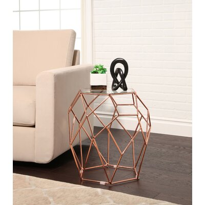Buchanan Glass Top Stainless Steel End Table