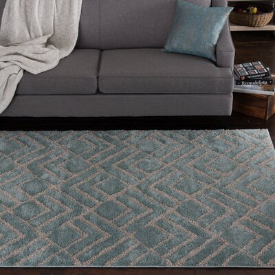 Hibbing Beach Glass Blue Area Rug Rug Size: 710 x 910