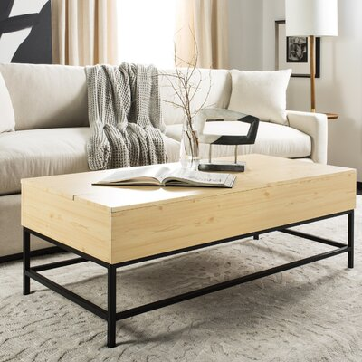 Reda Lift-Top Coffee Table with Storage Top Color: Light Oak