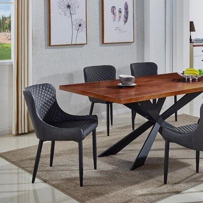 Shavon Upholstered Dining Chair (Set of 2) Upholstery Color: Dark Gray Vintage PU