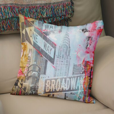 Kingston One Way Broadway Throw Pillow Size: 24  x 24