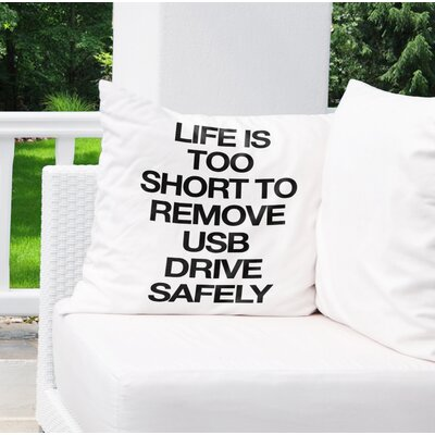 Dayville Usb Drive Indoor/Outdoor Throw Pillow Size: 18 H x 18 W x 8 D