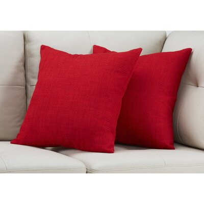 Cotter Linen Patterned Throw Pillow Color: Red