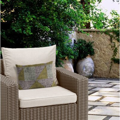 Clementina Textured Triangles Outdoor Lumbar Pillow