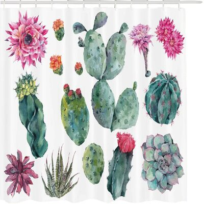 Elijah Nature Desert Botanic Herbal Cartoon Like Cactus Plant Flower With Spikes Print Shower Curtain Size: 69 W x 75 H