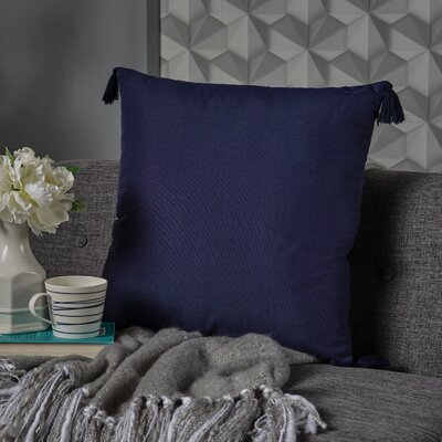 Crampton Tassel Square Throw Pillow Color: Dark Blue
