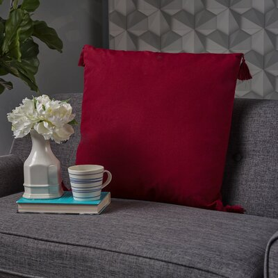 Crampton Tassel Square Throw Pillow Color: Red