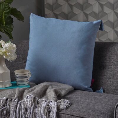Crampton Tassel Square Throw Pillow Color: Light Blue