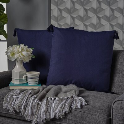 Crampton Tassel Throw Pillow Color: Dark Blue
