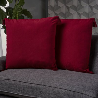 Crampton Tassel Throw Pillow Color: Red