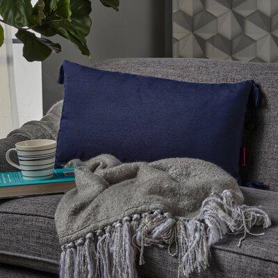 Crampton Tassel Rectangular Lumbar Pillow Color: Dark Blue