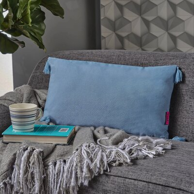 Crampton Tassel Rectangular Lumbar Pillow Color: Light Blue