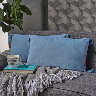 Crampton Tassel Lumbar Pillow Color: Light Blue