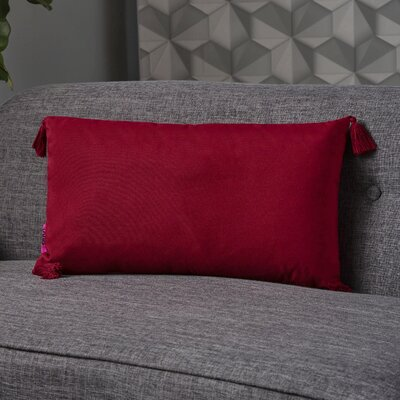 Crampton Tassel Rectangular Lumbar Pillow Color: Red