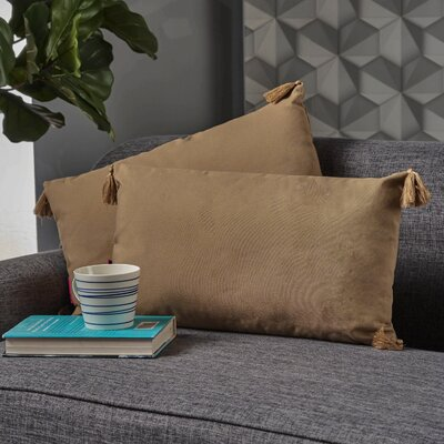 Crampton Tassel Lumbar Pillow Color: Flax