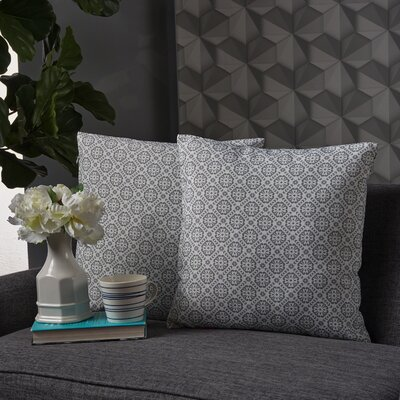 Crandell Floral Square Throw Pillow Color: Dark Gray