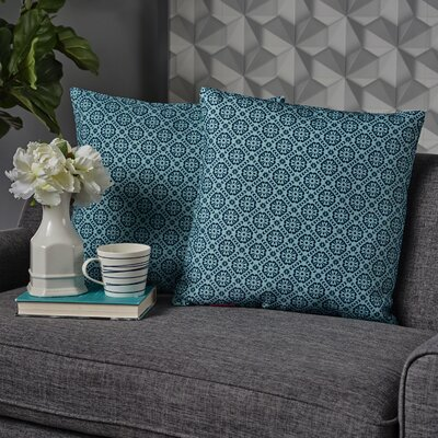 Crandell Floral Square Throw Pillow Color: Blue/Green