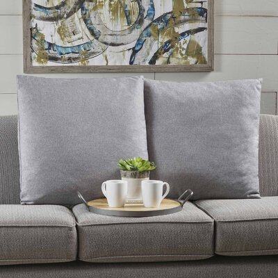Barco Fabric Square Throw Pillow Color: Light Gray