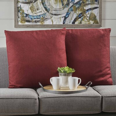 Barco Fabric Square Throw Pillow Color: Deep Red
