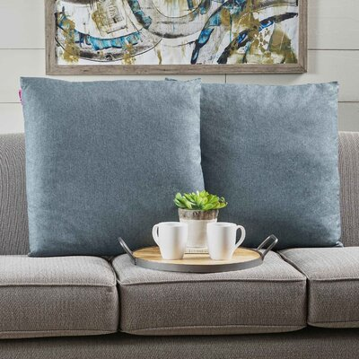 Duhart Fabric Square Throw Pillow Color: Blue Gray