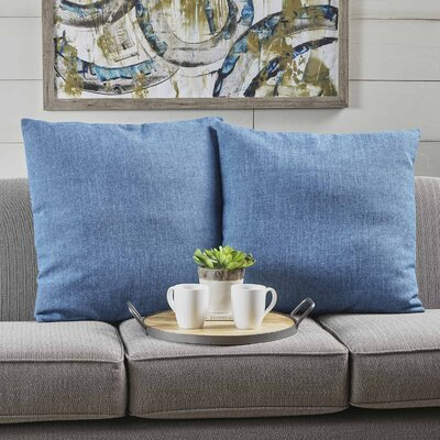 Barco Fabric Square Throw Pillow Color: Muted Blue