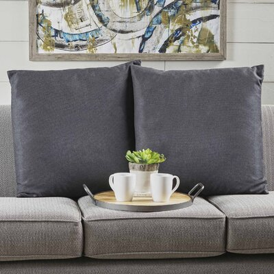 Barco Fabric Square Throw Pillow Color: Dark Charcoal