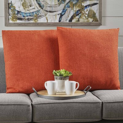 Barco Fabric Square Throw Pillow Color: Muted Orange