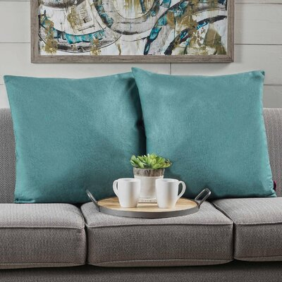 Barco Fabric Square Throw Pillow Color: Dark Teal