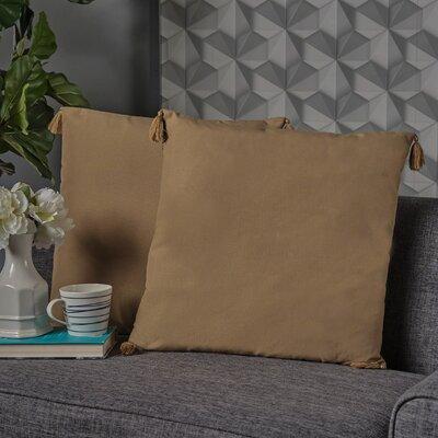 Crampton Tassel Throw Pillow Color: Flax