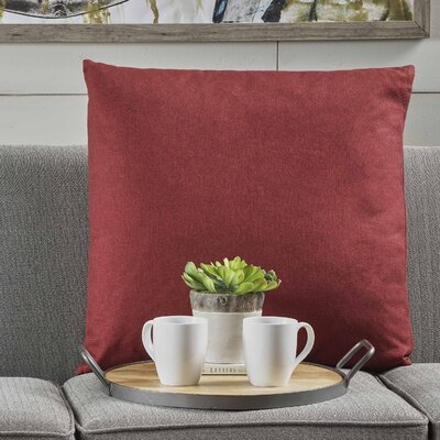Barco Fabric Throw Pillow Color: Deep Red