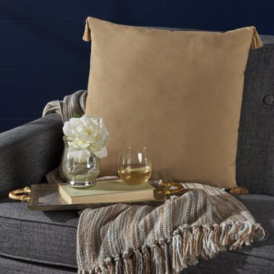 Crampton Tassel Square Throw Pillow Color: Flax