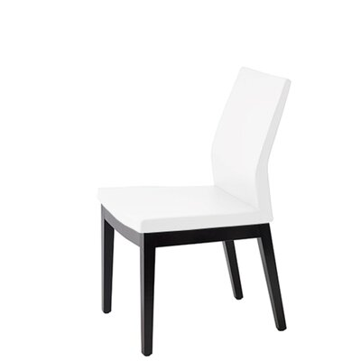 Veta Upholstered Dining Chair Upholstery Color: White Leatherette, Leg Color: Walnut