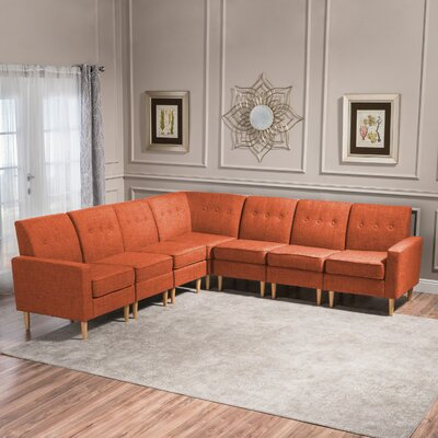 Gatton 7 Piece Mid Century Modern Modular Sectional Upholstery: Orange