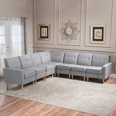 Gatton 7 Piece Mid Century Modern Modular Sectional Upholstery: Light Gray