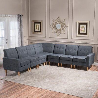 Gatton 7 Piece Mid Century Modern Modular Sectional Upholstery: Gray