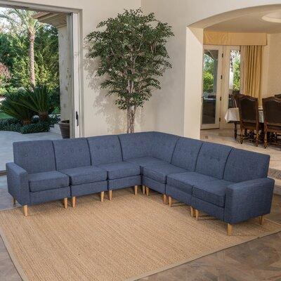 Gatton 7 Piece Mid Century Modern Modular Sectional Upholstery: Dark Blue