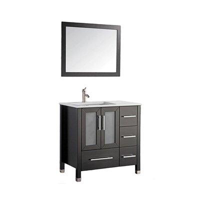 Nadeau Contemporary 36 Single Sink Bathroom Vanity Set with Mirror Base Finish: Espresso
