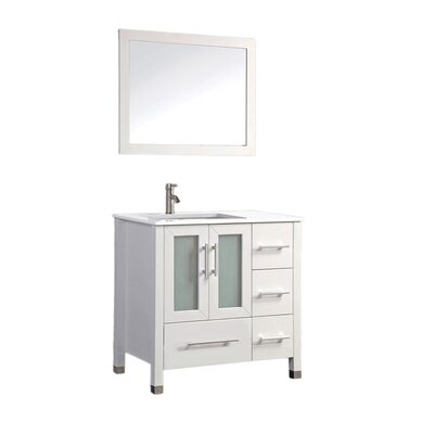 Nadeau Contemporary 36 Single Sink Bathroom Vanity Set with Mirror Base Finish: White