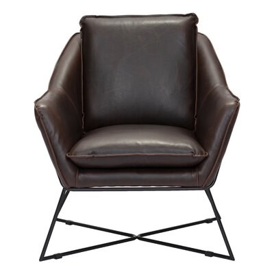 Zane Armchair Upholstery: Leatherette - Brown