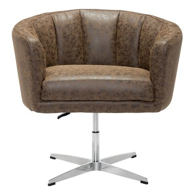 Charlie Swivel Barrel Chair Upholstery: Leatherette - Vintage Coffee