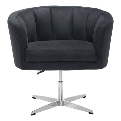 Charlie Swivel Barrel Chair Upholstery: Leatherette - Black