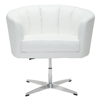 Charlie Swivel Barrel Chair Upholstery: Leatherette - White