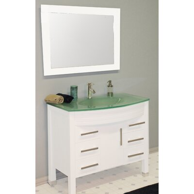 Jessa 35 Single Bathroom Vanity Set with Mirror Base Finish: White