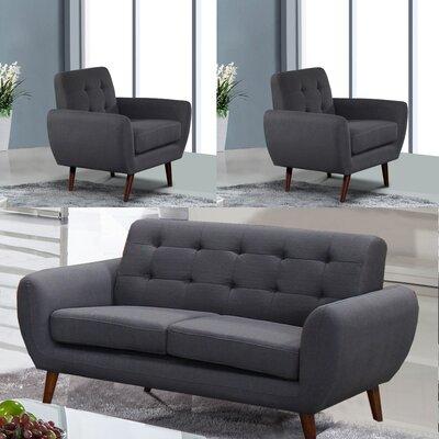 Philip 3 Piece Living Room Set Upholstery: Dark Gray