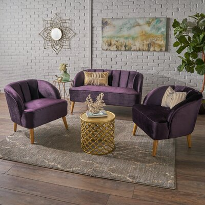 Gerardi 3 Piece Living Room Set Upholstery: Blackberry