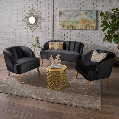 Gerardi 3 Piece Living Room Set Upholstery: Black