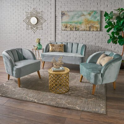 Gerardi 3 Piece Living Room Set Upholstery: Seafoam Blue