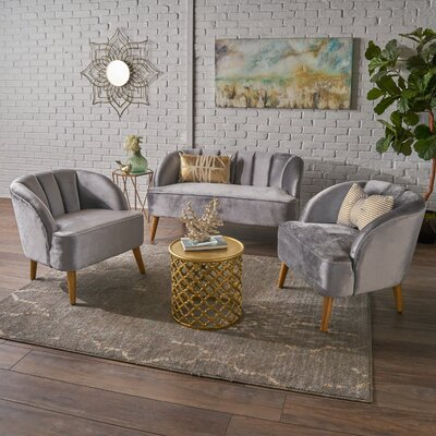 Gerardi 3 Piece Living Room Set Upholstery: Pewter