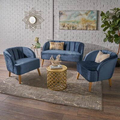 Gerardi 3 Piece Living Room Set Upholstery: Cobalt