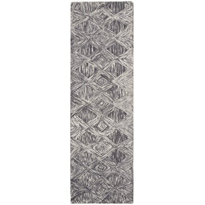 Divernon Hand-Woven Wool Charcoal Area Rug Rug Size: Runner 23 x 76